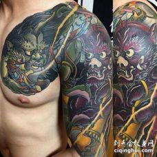 日式大臂前胸风神雷神纹身图案
