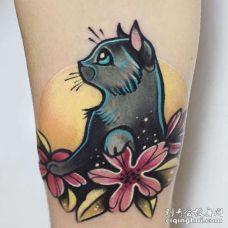 New School小腿猫纹身图案