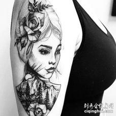 点线大臂人像花卉山纹身图案