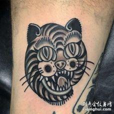 Old School小腿猫纹身图案