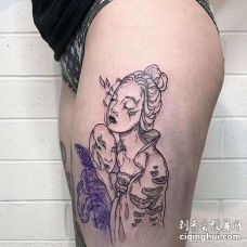 New School大腿女人纹身图案