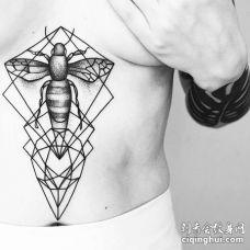 点刺几何胸下蜜蜂纹身图案