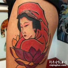 日式大腿观音菩萨荷花纹身图案