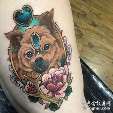 New School大腿狗纹身图案