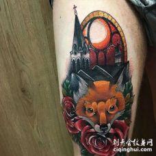 New School大腿狐狸建筑玫瑰纹身图案