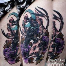 New School大腿乌鸦骷髅纹身图案