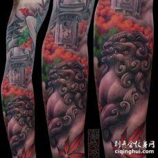 新传统小臂唐狮纹身图案
