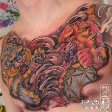 新传统前胸唐狮纹身图案
