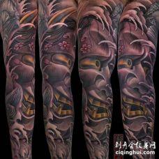 新传统胳膊般若纹身图案