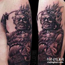 新传统大臂不动明王纹身图案