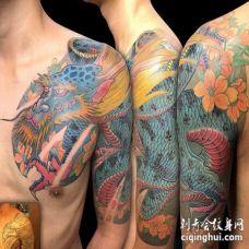 新传统大臂前胸龙纹身图案