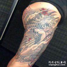 新传统大腿凤凰纹身图案