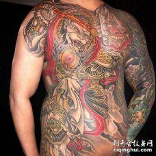 新传统前胸腹部孙悟空纹身图案