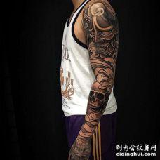 新传统胳膊般若骷髅唐狮纹身图案