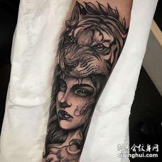 New School小臂老虎女人纹身图案