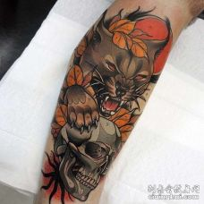 New School小腿猫骷髅纹身图案