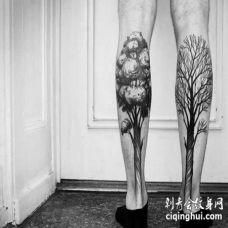 点线小腿树纹身图案