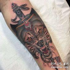 New School小腿狼匕首纹身图案