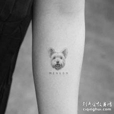小清新小臂狗纹身图案