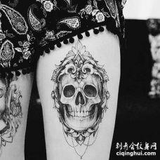 点刺小腿骷髅纹身图案