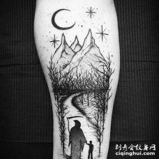 点线小腿树山月亮死神纹身图案