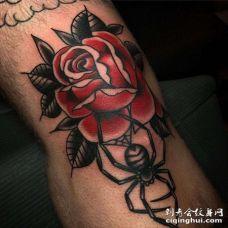 Old School膝盖玫瑰纹身图案