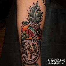 Old School小臂水果纹身图案