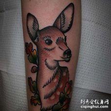 Old School小腿鹿纹身图案