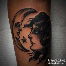Old School小腿女人月亮纹身图案