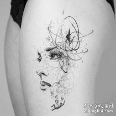 点线大腿人像纹身图案