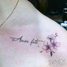小清新锁骨英文花卉纹身图案