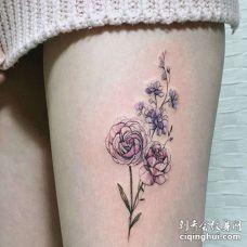 小清新大腿玫瑰纹身图案