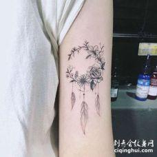 小清新大臂花环捕梦网纹身图案