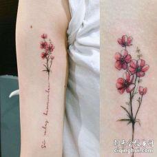 小清新大臂英文花卉纹身图案