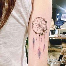 小清新大臂捕梦网纹身图案