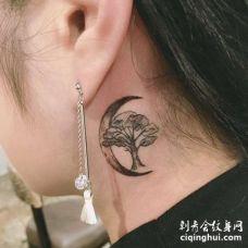小清新脖子树纹身图案
