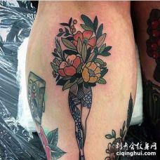 New School小腿花卉纹身图案