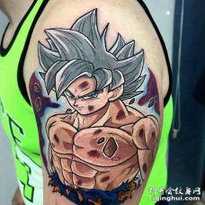 卡通大臂七龙珠超级赛亚人纹身图案