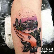 New School小腿手纹身图案