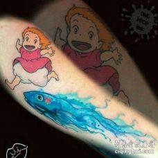 卡通小臂宫崎骏纹身图案