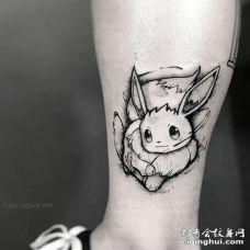 卡通小腿神奇宝贝伊布纹身图案