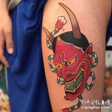 日式大腿般若纹身图案
