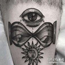 New School大腿沙漏眼睛太阳纹身图案