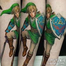 卡通小腿人像纹身图案