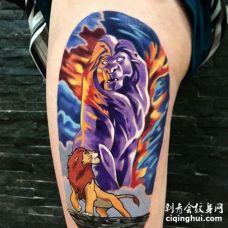 卡通大腿狮子王纹身图案