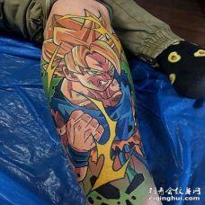卡通小腿七龙珠孙悟空超级赛亚人纹身图案