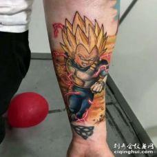 卡通小臂七龙珠超级赛亚人贝吉塔纹身图案