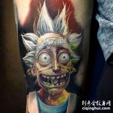 卡通大臂瑞克和莫蒂纹身图案