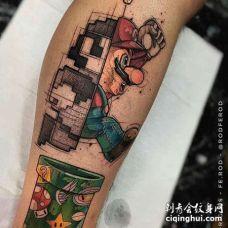 卡通小腿超级玛丽纹身图案