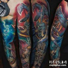 卡通胳膊魔兽世界纹身图案